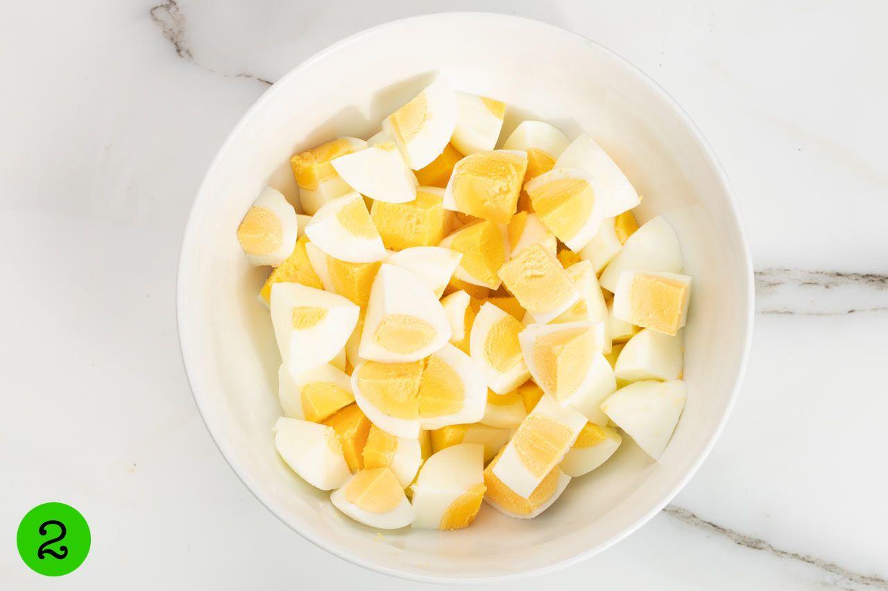How to make Egg Salad step 2 dice