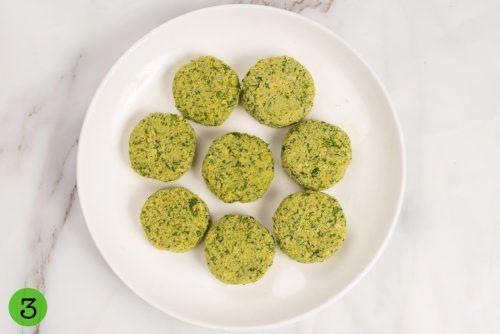 Step 3 Make falafel balls and flatten them