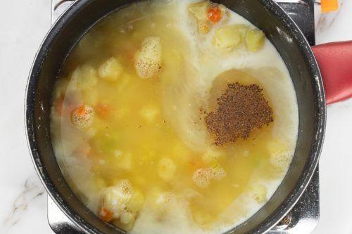 Step 2: Add chicken broth, milk, and seasonings. Simmer until tender.