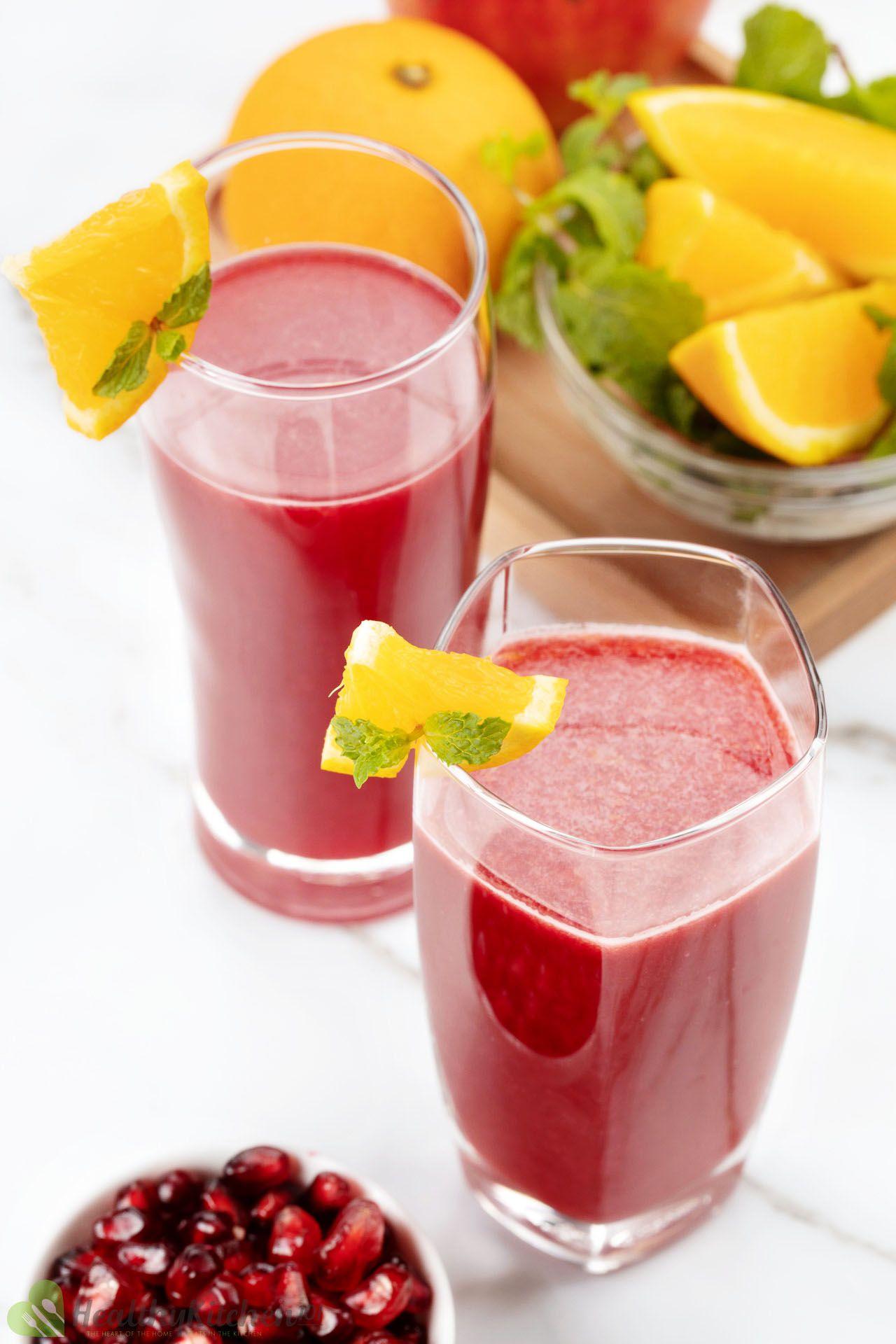 homemade orange pomegranate juice