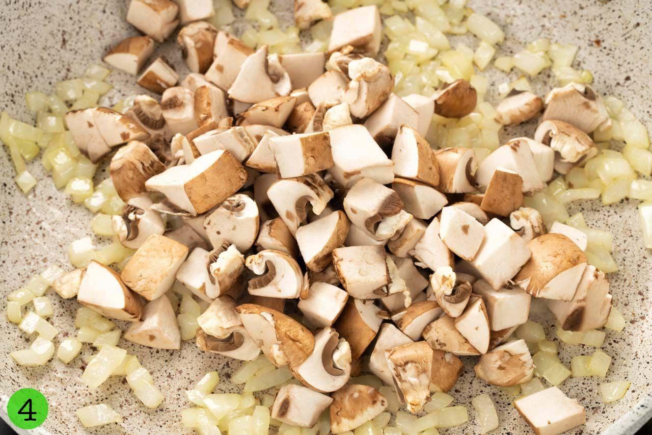 Step 4 Stir fry onion and mushroom