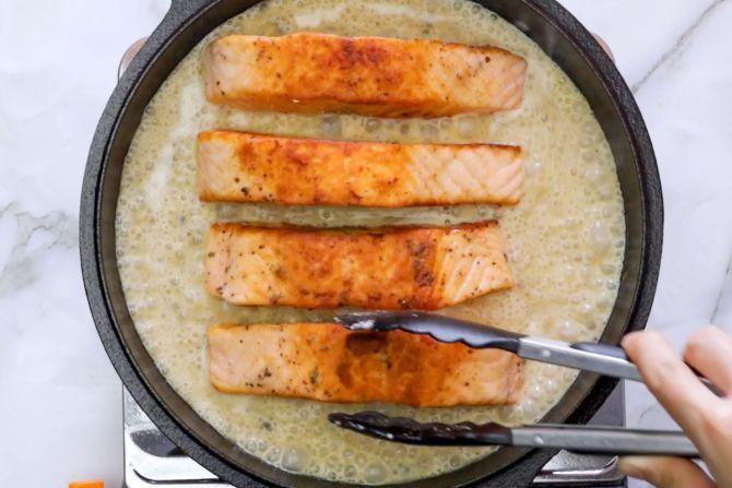 step 6: Add salmon back to the saucepan