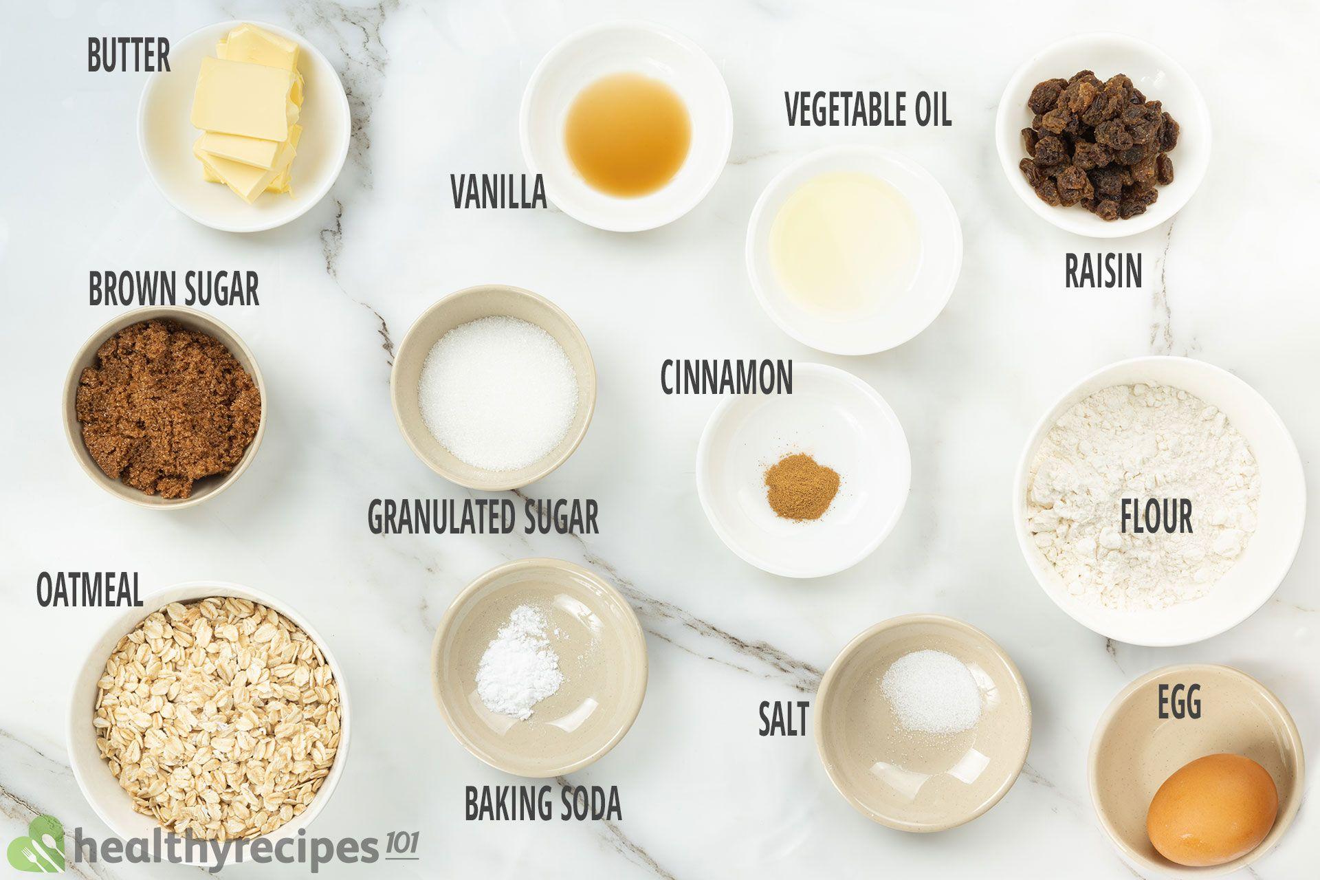 ingredients  for Oatmeal Raisin Cookies