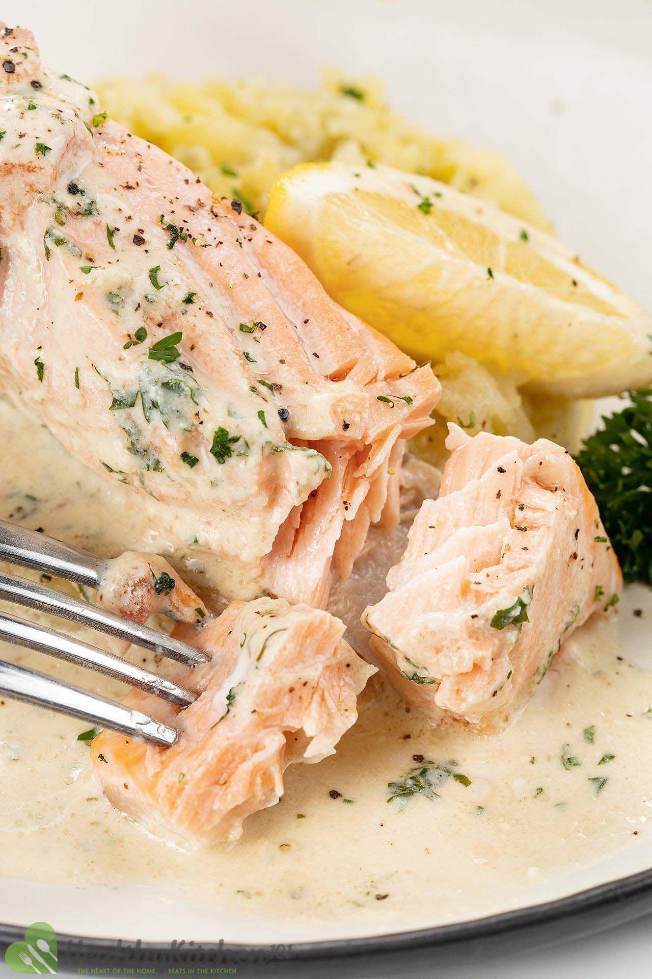 homemade poached salmon