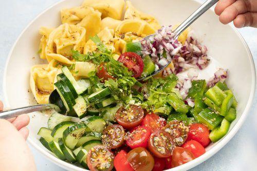 step 3 mix the Tortellini Salad