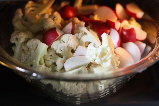 step 1: Microwave/boil the cauliflower and radish