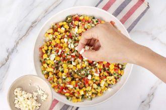 step 4: Sprinkle feta and cilantro on top. Serve