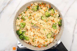 Step 5: Stir-fry the rice.
